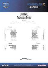 Teamsheet - Portsmouth v Barnsley 2011/12