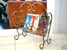 Wrought Iron Magazine Rack French Style Antique Brown D