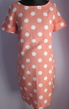 Vintage Femmes Sans Marque Peach/Blanc Polka Dot Shift Lin Mélange Robe Taille 10