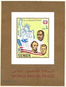 YEMEN 1964 MARTIN LUTHER KING ABRAHAM LINCOLN & JOHN KENNEDY IMPERF S/S