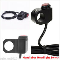 12V Motorcycle Waterproof LED Handlebar Headlight Fog Spot light Switch Al-Alloy