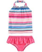 OshKosh Girls 2-Piece Blue Pink Striped Halter-Top Tankini Swimsuit UPF 50+ 14 Y
