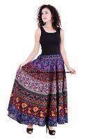 Indien Femme Rapron Imprimé Floral Coton Jupe Longue Enroulé Jupe Patineuse