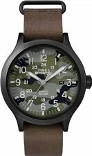 Mens Timex Indiglo Expedition Military Camouflage Brown Leather Watch TW4B06600