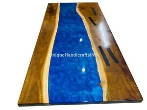 Blue Resin River Table, Dining Table Top, Center Table Top, Hallway Table Tops