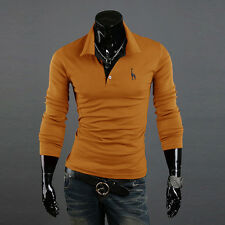 Hot Mens Stylish Slim Fit Casual Fashion T-shirts Polo Shirt Long Sleeve Tops GW