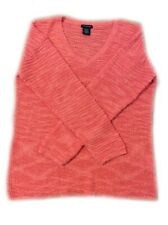 Calvin Klein Jeans Women's V Neck Long Sleeve Textured Knit, Coral, XXL NEW
