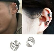 1x Fake Ear Cuff Wrap Band Hoop Helix Rock Cartilage No Piercing-Clip On-Silver