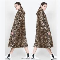 UK Women Winter Warm Animal Leopard Print Faux Fur Jacket Coat Outwear Size