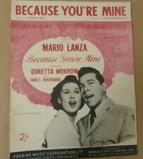 Foglio CANZONE perché sei mia MARIO LANZA Doretta MORROW 1951