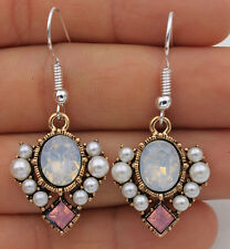925 Silver Plated Hook - 1.7'' Square Opal Crystal Pearl Beads Prom Earrings #17
