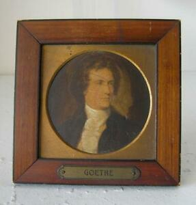 Antique Framed Portrait Miniature of Jean Wolfgang de Goëthe 4 3/8 x 4 1/2