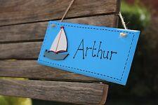 nautical wooden name sign bedroom door plaque boat blue christening new baby