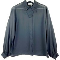 Vintage Katies Women's Size 12  Black Long Sleeve Collared Button Up Blouse Top