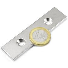 Super Magnete Solido in Neodimio 80x20x4 mm 18 Kg DOPPIO FORO SVASATO da avvitar