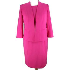 Kasper Sleeveless Dress 3/4 Sleeve Jacket 2 Piece Suit Set Womens Sz 16 Pink
