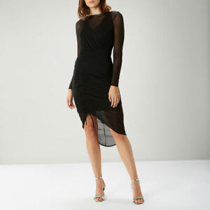 COAST Dress UK 8 SELENA Black Mesh Zip Party Cocktail Cruise BNWT Hi Low