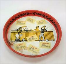 Achor Hocking Serving Bar Beer Tray 1950s Drink Cocktail Recipes Kitsch MCM