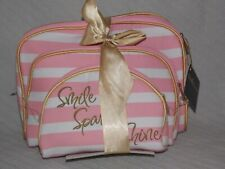 """Nicole's Boutique 3 Piece Dome """"Smile Sparkle Shine"""" Cosmetic Bags Pink Stripped"""