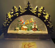 13� Light Candelabra Christmas Snow Water globe Swirling Santa Reindeer Tree (Ee