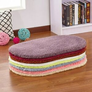 Solid Oval Area Rug Soft Carpet Bedroom Bedside Plush Floor Rugs Anti-slip Mat