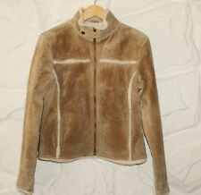 Beige Suede RIVER ISLAND Zip Waist Length Biker Winter Jacket Blazer Sz 12 / 38
