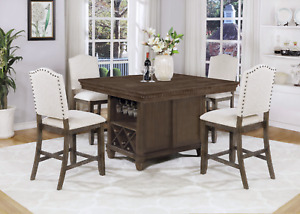 NEW Brown Dining Counter-Height Pub Table & Wine Bottle Rack & Upholstered Chair