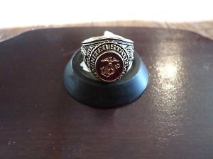 MARINE CORPS MILITARY GOLD RING RUBY CRYSTAL INLAY 18K ELECTROPLATE SIZE 11