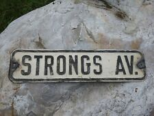 Antique Early 1900s Rutland Vermont Street Signs Strongs Ave.