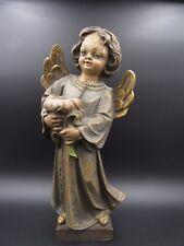 """L957⭐⭐ Alte """" Putten """" Engel mit Kerzenhalter Stehend aus Holz Putto ⭐⭐"""