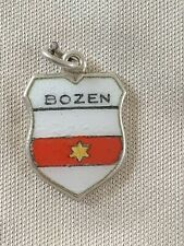BOZEN Silver Travel Shield Enamel Charm