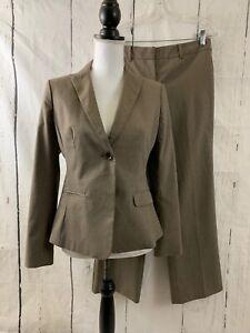 ANN TAYLOR Pant Suit Brown Striped Blazer Signature Pants Lined Size 6 Petite 6P