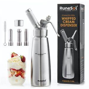 RuneSol Stainless Steel Whipped Cream Dispenser & 3 Stainless Steel Nozzles