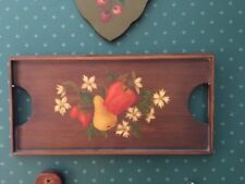Vintage Large Wooden Tole Tray Brown with Apples and Pears