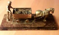 Vintage Brass Coal-Mining Diorama With Cart Horse on Wooden Plinth VGC