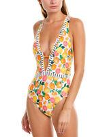 Nanette Lepore NWT $138 Tutti Fruitti Goddess Printed Plunge One-Piece Swimsuit