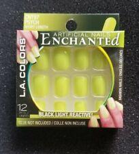 LA Colors Glue On Nails Enchanted Black Light Reactive Short Length  Psych New