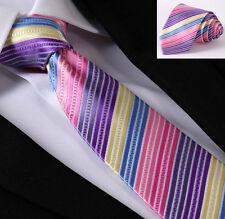 Mens Tie Pink Rainbow - Satin Purple Blue & Yellow - SALE Wedding Stripe Necktie
