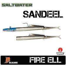 2 Stück DELALANDE Sandaal / Fire Eel 13 cm Farbcode 40 + Darting Jig Head 55g