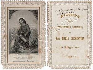Santino traforato in ricordo di suor Maria Clementina - Parigi, 1897