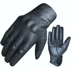 Motorcycle Motorbike Real Leather Gloves Knuckle Protection Touch Screen S-XXL