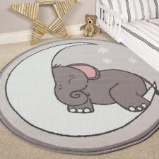 Boys Girls Kids Bedroom Circle Rug Grey Soft Trendy Elephant Nursery Creche Mat