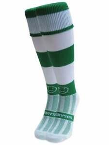 WackySox Emerald Green and White Hoop Sports Socks, Rugby Socks, Hockey Socks...