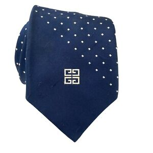 VTG Vintage Givenchy Gentleman Navy Blue Logo Tie Necktie