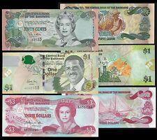 Bahamas 1/2-1-3 DOLLARS 2008-1984 P 44;68;71 UNC LOT 3 PCS
