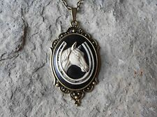 HORSE AND HORSESHOE (HAND PAINTED) CAMEO NECKLACE!!! QUALITY!!! EQUINE, LUCKY