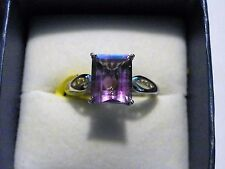 """""""Simply Solitaire"""" Bi-color Fluorite ring (5.65 ct) in Platinum over 925 size 7"""