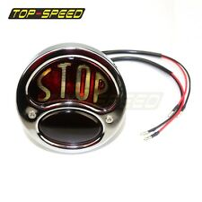 28-31Ford Model A Motorcycle Tail Light Bobber Stop Stainless Steel Black Chrome