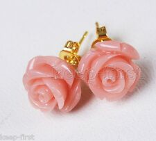 Fashion 12mm Natural Pink Coral Flower Yellow gold plating Stud Earrings  AAA
