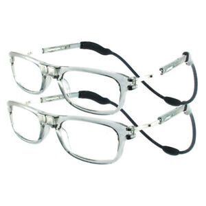 TWIN-PACKS High Quality Loopies Magnetic Reading Glasses Transparent GREY